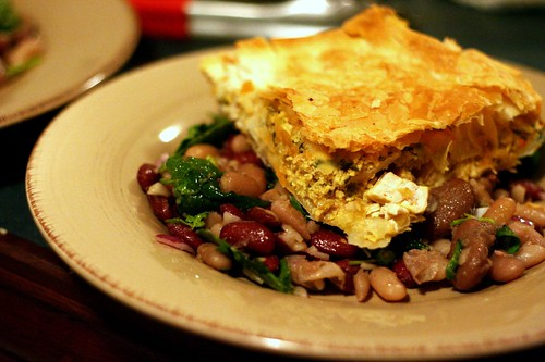 Moroccan Chicken Pie and 3 bean salad (with a Moroccan funk to it)