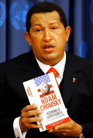 President Chavez holding Noam Chomsky's 'Hegemony or Survival' at 61st Session of UN GA 20 Sept 06