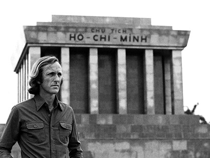 Journalist John Pilger stands at Ho Chi Minh Mausoleum in Vietnam 3 Oct 1979