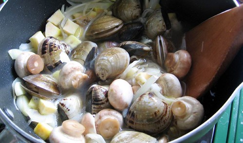 mushrooms, clams, sweet potatoes and onions