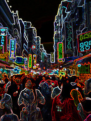 Crowded street in Taipei