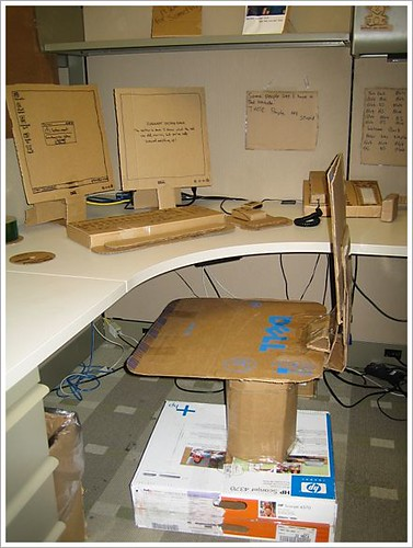 cardboard cubicle office