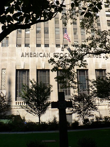 American Stock Exchange behind the cross