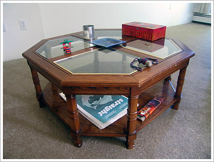 hex Wooden and glass coffee table