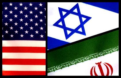 US, Israeli, and Iranian flags