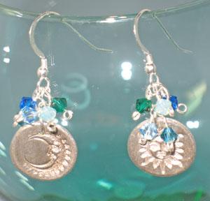 Fine Silver Sun & Moon Earrings