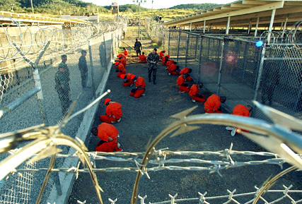 Detainees at Guantanamo Bay 11 Jan 2002