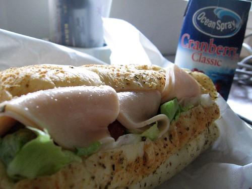 turkey sandwich and cranberry juice