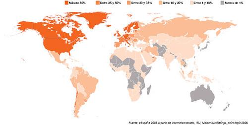 Penetración de Internet en el Mundo