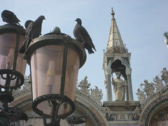 Pigeons, lanterns and scultpure