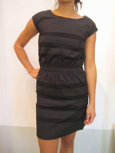APC lace striped cotton cinch waist dress