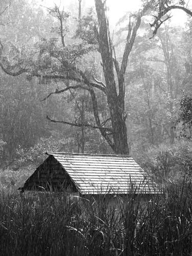 springhouse in the rain