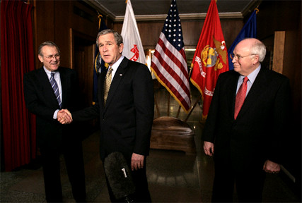 Bush at Pentagon Briefing with Rumsfeld and Cheney Washington 13 Jan 2005
