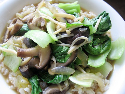 sweet potatoes, vegetables, mushrooms and rice
