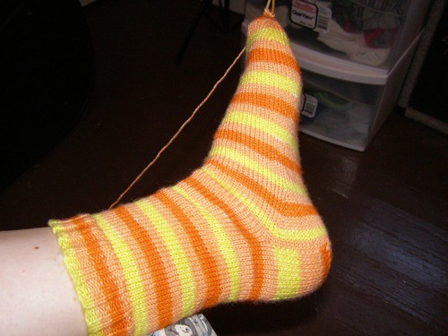 Candy Corn Sock #1 is (almost) done!