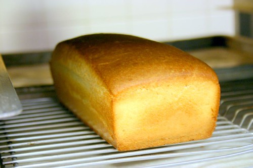 white batter bread, cooling