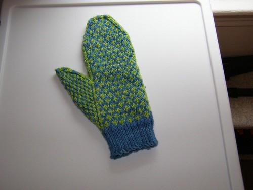Palm side of Estonian-inpsired mitten #1