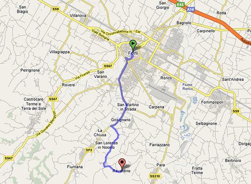 itinerario forli'-Ravaldino in Monte