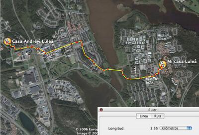 Mapa indicando el camino desde mi casa a casa de Andrea