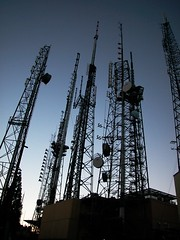 Mount Wilson radio towers above Pasadena, California (by fingle)