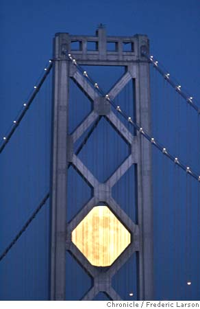 moon framed by the bay bridge