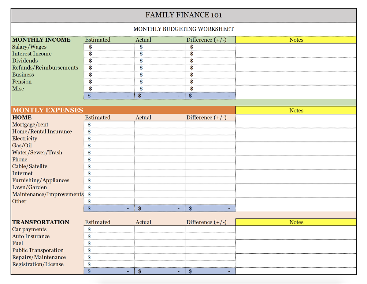 Financial Expenses Worksheet