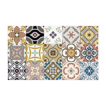 tapis de cuisine en vinyle effet carreaux de ciment rica 49 5x83 cm multicolore
