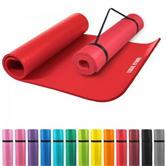 tapis en mousse grand 190x100x1 5cm yoga pilates sport a domicile rouge