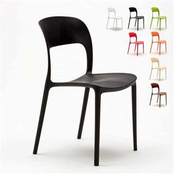 chaise salle a manger bar restaurant en polypropylene colore design restaurant couleur noir