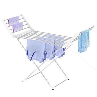 Leogreen Seche Linge Electrique Etendoir Pliant D Interieur A Etages Classique Blanc Dimensions Du Produit Replie 113 X 53 X 7 Cm Achat Prix Fnac