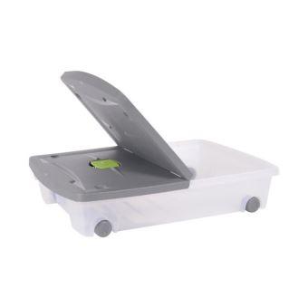 eda plastique coffre de rangement dessous de lit 50 l avec roulettes naturel 77 5 x 59 x 16 5 cm