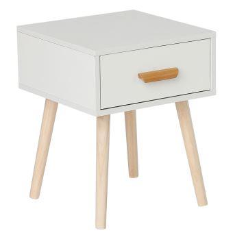 table de chevet blanc scandinaves hauteur 50 cm pas cher avec grande tiroir coulissant