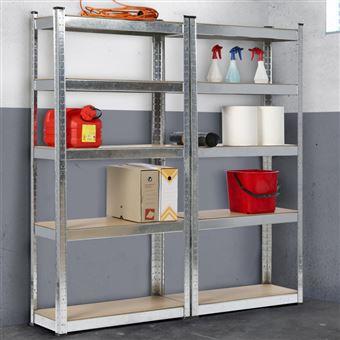 lot de 2 etageres modulables charges lourdes h 180 cm 10 plateaux