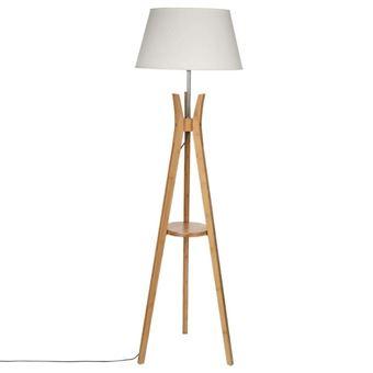 lampadaire bois trepied 156cm naturel blanc