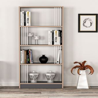 etagere bibliotheque design nicol l 64 x h 150 cm noir