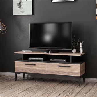 homemania meuble tv sery moderne avec portes etageres pour salon noir en bois 120 x 35 x 52 cm