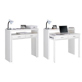 bureau pour ordinateur 2 tiroirs blanc brillant