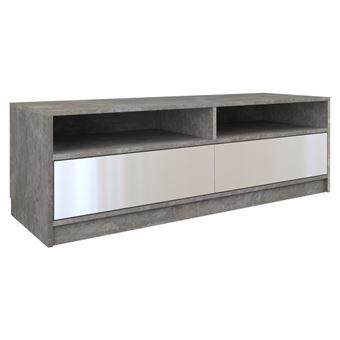 hanoi meuble bas tv contemporain 120x45x40 salon sejour 2 niches 2 portes rangement materiel tele audio video gaming beton