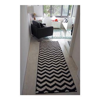 tapis lavable en machine en coton naturel noir et beige zig zag lorena canals