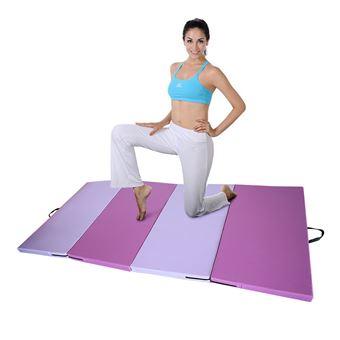 tapis de sol gymnastique jeobest matelas fitness pliable portable 2 4m rose et violet