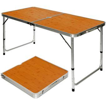 amanka table de camping pique nique pliable reglable en hauteur 120x60x70cm en aluminium pliant form