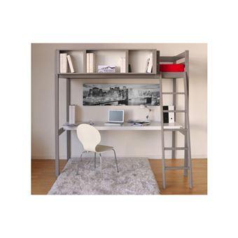 lit mezzanine giacomo 90x190cm bureau et rangements integres epicea gris