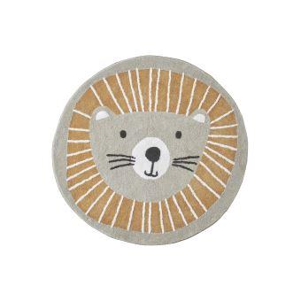 vertbaudet tapis rond lavable lion gris orange tu