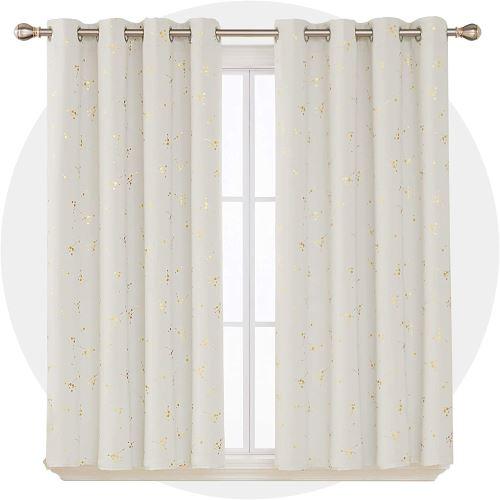 deconovo lot de 2 rideau occultant a oeillets rideaux petite hauteur rideau thermique isolant anti froid rideaux dore avec motif pour salon 140x180cm