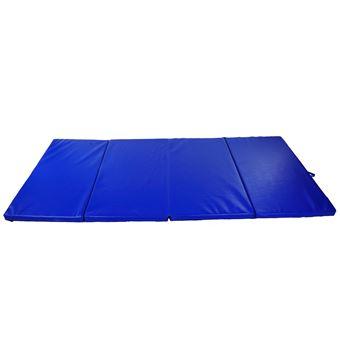 tapis de sol gymnastique fitness pliable portable rembourrage mousse 5 cm grand confort revetement synthetique dim 2 93l m x 1 15l m bleu