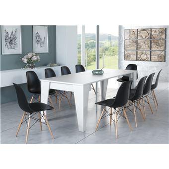 table tm extensible avec rallonges jusqu a 239 cm blanche