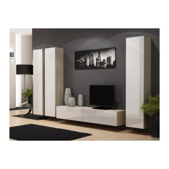 ensemble meuble tv design suspendu kiko bois et blanc
