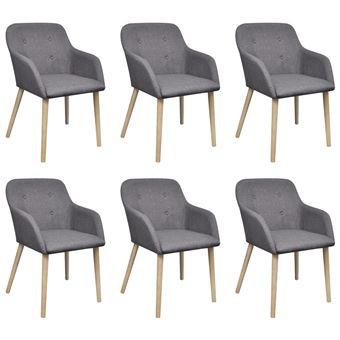 vidaxl chaise de salle a manger 6 pcs cadre en chene tissu gris fonce