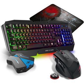 pack clavier semi mecanique pro k5 souris rgb et tapis pro pour console switch convertisseur inclus