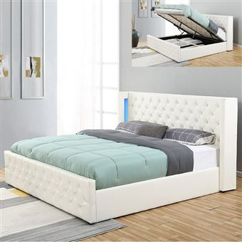 lit coffre design avec led osmos blanc 180x200